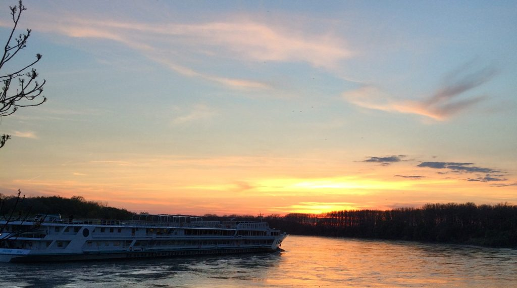 Sunset in confluence of the Danube and Morava rivers