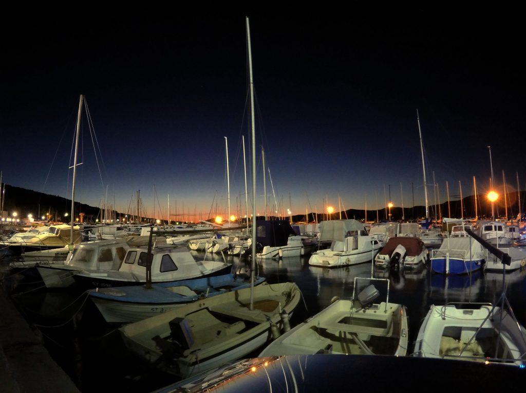 Sunset at docks of Split