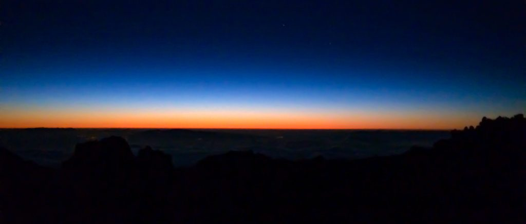 The twilight zone - Sun rising from Atlantic over Tenerife