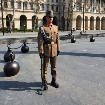 A guard outside parliament