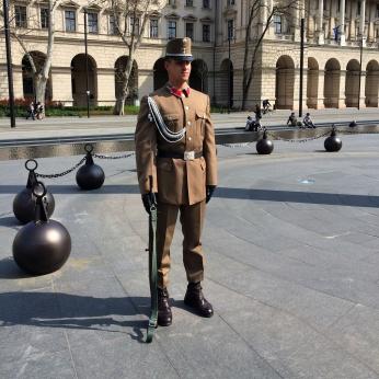 A guard outside parliament