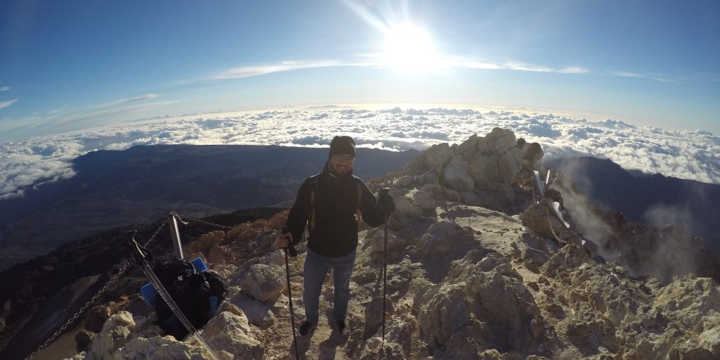 Standing above clouds, summit of El Teide