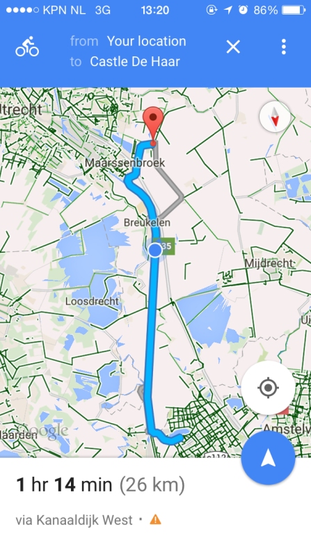 The cycling route