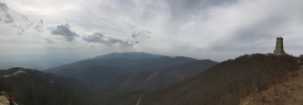 A panorama of the monument and peak
